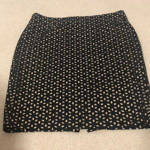 LOFT A-line skirt w/ nude lining & black cutouts
